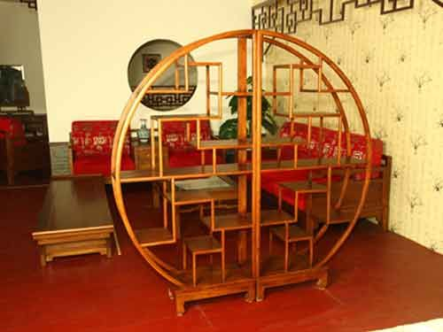 中式古典圆形榆木多宝阁厂家