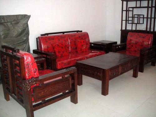 仿古中式老榆木沙发六件套
